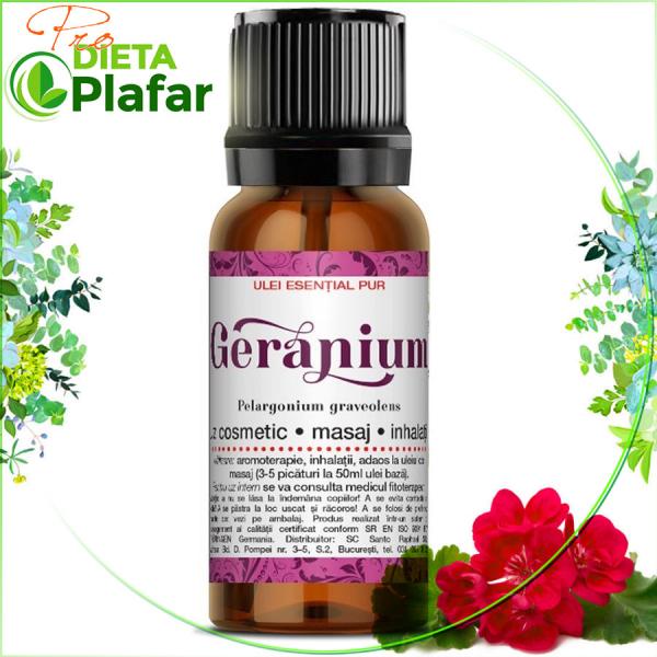 Geranium ulei esential 10 ml.Relaxant. Uleiul de geranium este util pentru că ne ajuta sa eliminam fricile si nemultumirile.