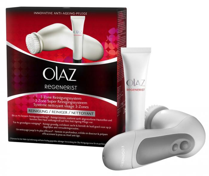 Aparat Curatare Faciala Anti-age Olaz Regenerist 3 Zone Cu Perie Rotativa Si Gel De Curatare Ten