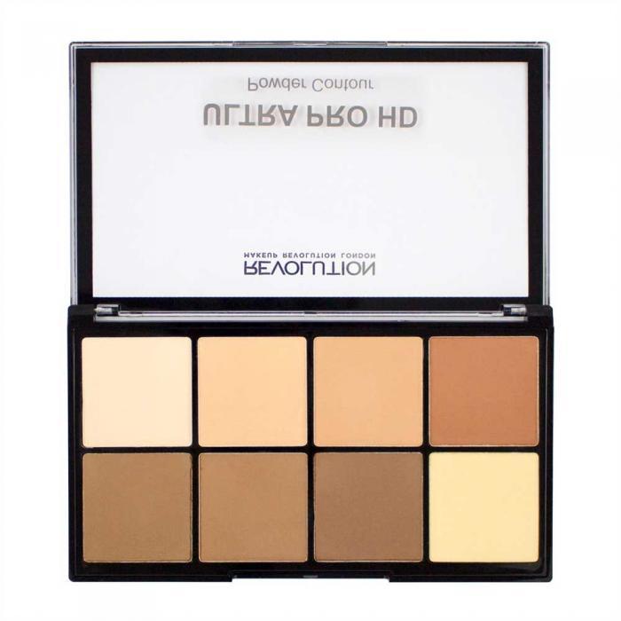 Paleta MAKEUP REVOLUTION HD Pro Powder Contour cu 8 Pudre Pentru Conturare - Light Medium, 20g-big