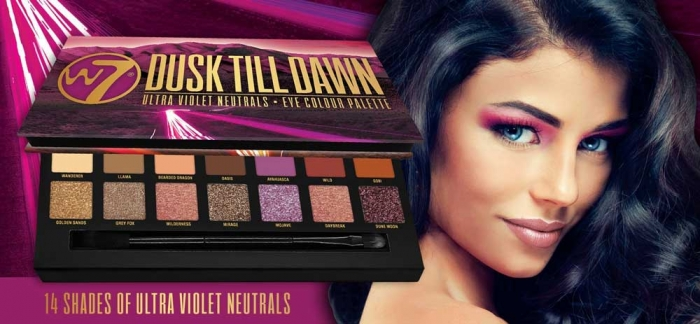 Paleta farduri W7 Dusk Till Dawn Eye Colour Palette, Ultra Violet Neutrals, 14 culori, 9.6g-big