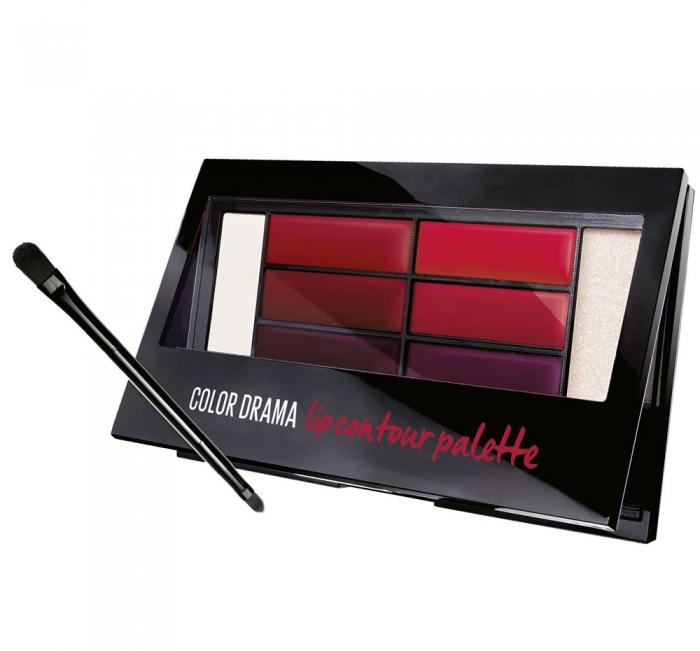 Paleta rujuri Maybelline New York Color Drama Lip Contour Palette, 01 Crimson Vixen, 4 g-big