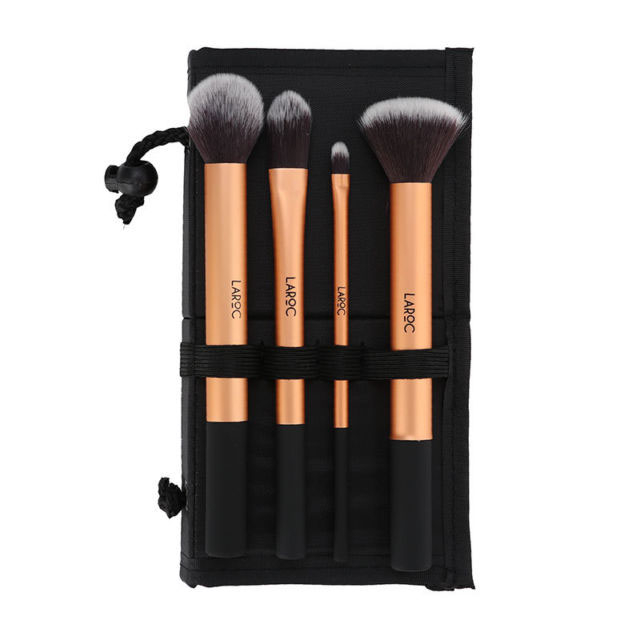 Set 4 Pensule Profesionale LAROC Makeup Gold Brush Set-big