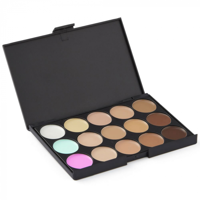 Paleta profesionala cu 15 corectoare, LAROC 15 Natural Concealer Tones Palette-big