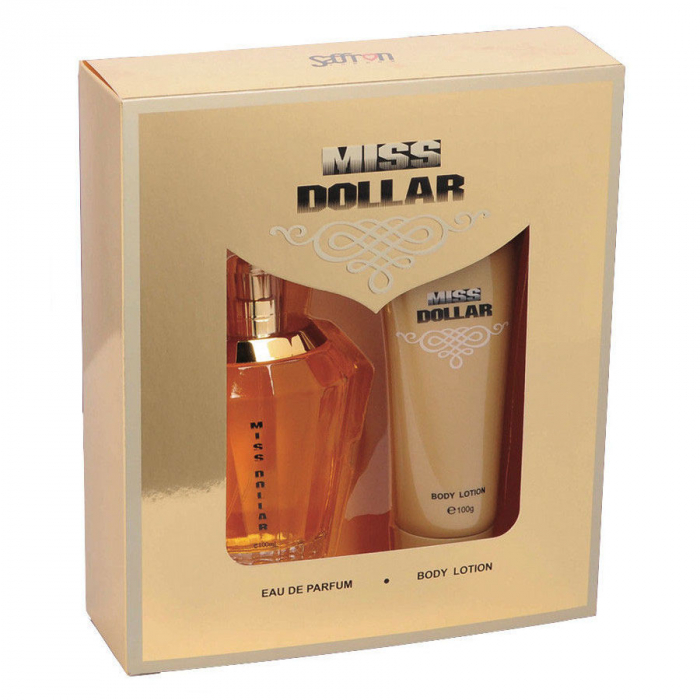 Set Cadou Miss DOLLAR cu Apa de Parfum Saffron London, dama, EDP, 100 ml si Lotiune de Corp, 100 ml-big