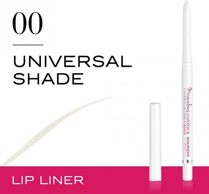 Creion de buze Bourjois Paris Miraculous Contour Universal Lip Liner + Primer, Transparent-big