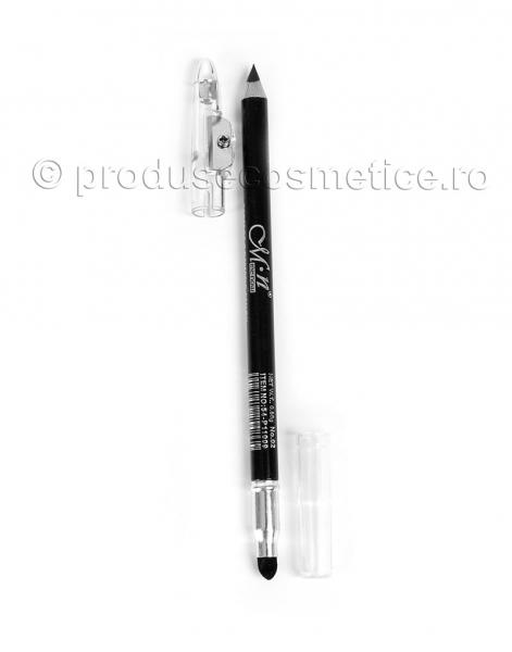 Creion de Ochi si Sprancene Dual Rezistent la transfer Menow cu Ascutitoare & Buretel Blending - Negru-big