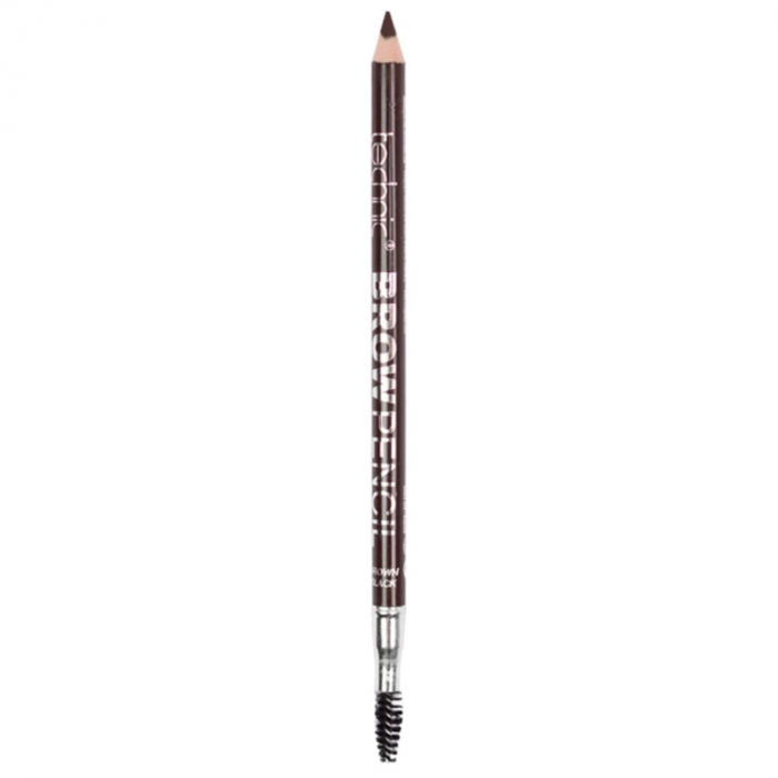 Creion de sprancene Technic Brow Pencil cu ascutitoare si periuta, Brown Black-big