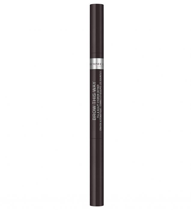 Creion pentru sprancene automatic Rimmel London Brow This Way Fill & Sculpt, 004 Soft Black-big