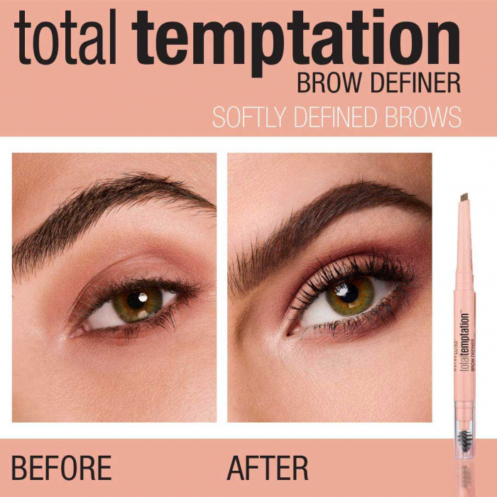Creion pentru sprancene Maybelline New York Total Temptation Brow Definer, 130 Deep Brow-big
