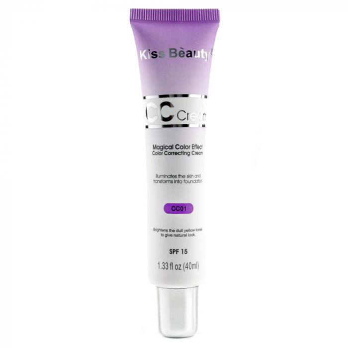 Crema corectoare neutralizatoare anti-pete, Kiss Beauty CC Cream Magical Color Effect, SPF 15, CC01, 40 ml-big