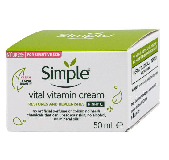 Crema de noapte pentru ten sensibil cu Bisabolol si Pro-Vitamina B5, Simple Vital Vitamin Cream, 50 ml-big