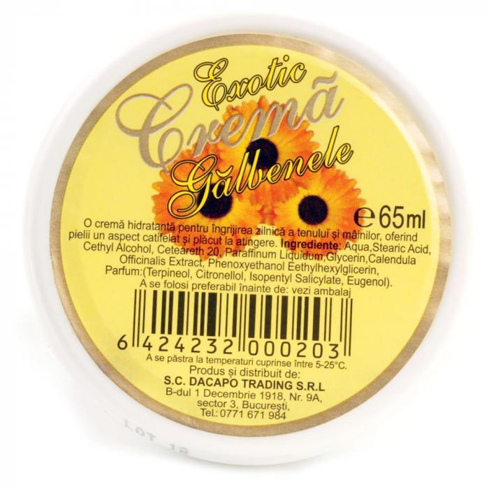 Crema cicatrizanta regeneratoare cu Galbenele pentru ten si maini, Exotic, 65 ml-big