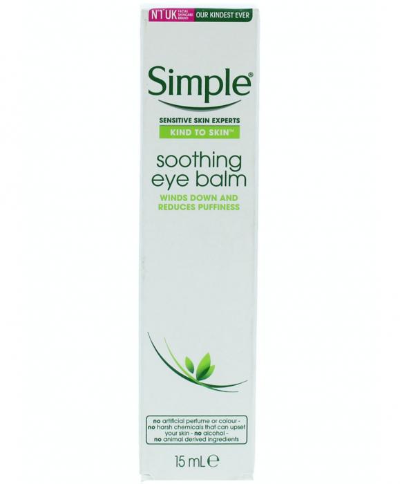 Balsam calmant pentru ochi umflati, pleoape lasate, obosite, Simple Kind To Skin Soothing Eye Balm, cu ceai verde, ginkgo biloba si Pro-vitamina B5, 15 ml-big