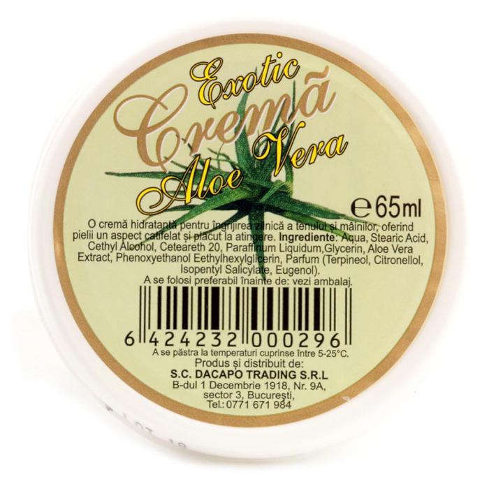 Crema hidratanta regeneratoare cu Aloe Vera pentru ten si maini, Exotic, 65 ml-big