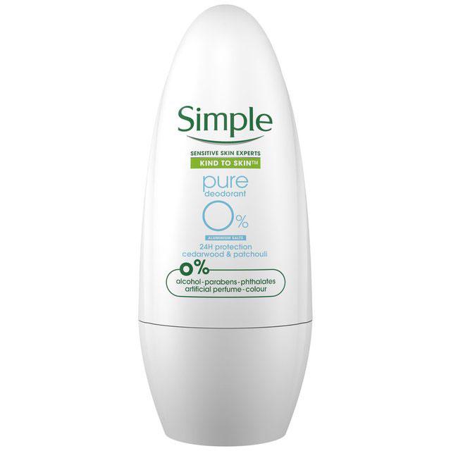 Deodorant antiperspirant roll-on Simple Pure 0% Aluminium cu Lemn de Cedru si Patchouli, Protectie 24H, 50 ml-big