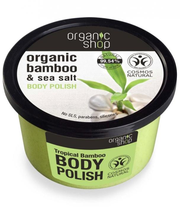 Exfoliant energizant pentru corp cu Sare Marina si Bambus Tropical, Organic Shop Body Polish, Ingrediente 99.54% Naturale, 250 ml-big
