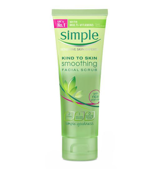Exfoliant delicat pentru ten Simple Smoothing Facial Scrub cu granule de orez, 75 ml-big