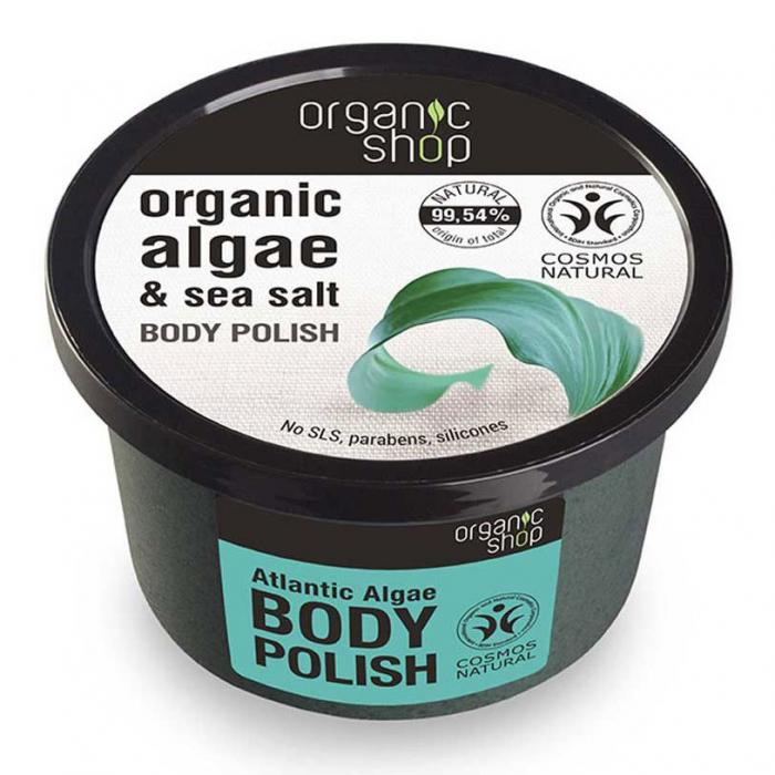 Exfoliant pentru corp cu Alge din Oceanul Atlantic si Sare Marina, Organic Shop Body Polish, Ingrediente 99.54% Naturale, 250 ml-big