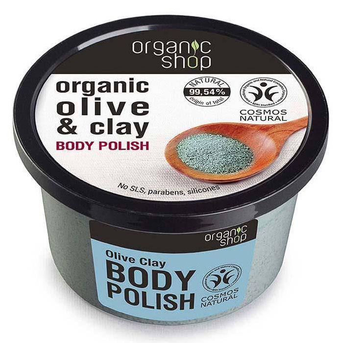 Exfoliant pentru corp cu Argila Naturala, Ulei de Masline si Sare Marina, Organic Shop Body Polish, Ingrediente 99.54% Naturale, 250 ml-big