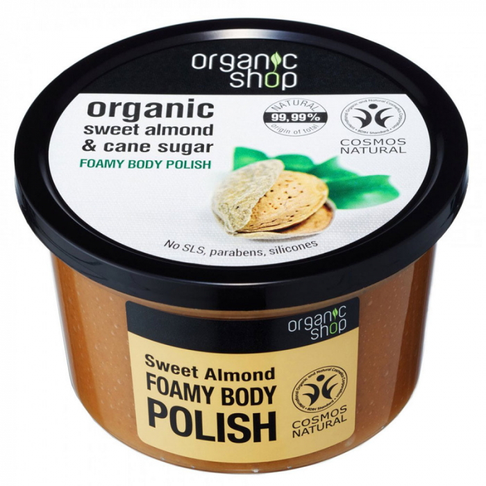 Exfoliant pentru corp din Migdale Dulci si Trestie de Zahar, Organic Shop Foamy Body Polish, Ingrediente 99.99% Naturale, 250 ml-big