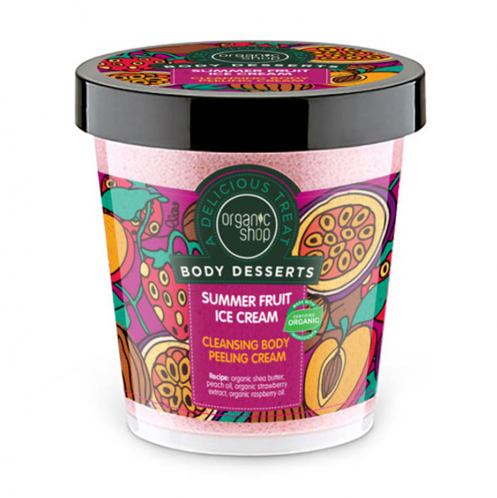 Crema Exfolianta Organic Shop Body Desserts cu inghetata de fructe de vara pentru curatarea corpului, 450 ml-big