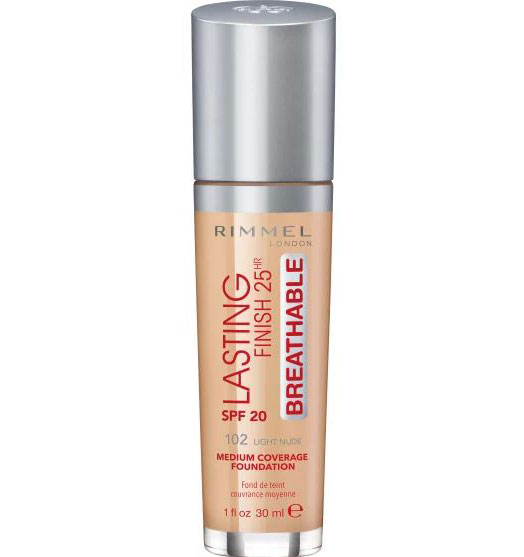 Fond de Ten Rimmel London Lasting Finish 25Hr Breathable, SPF20, 102 Light Nude, 30 ml-big