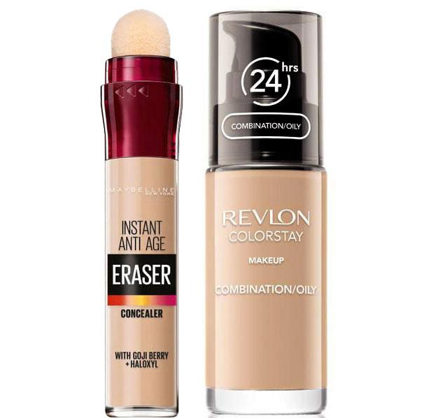 Set Machiaj Pentru Ten Gras Cu Fond De Ten Revlon Colorstay Oily Skin, 200 Nude Si Corector Maybelline New York Eraser, 02 Nude