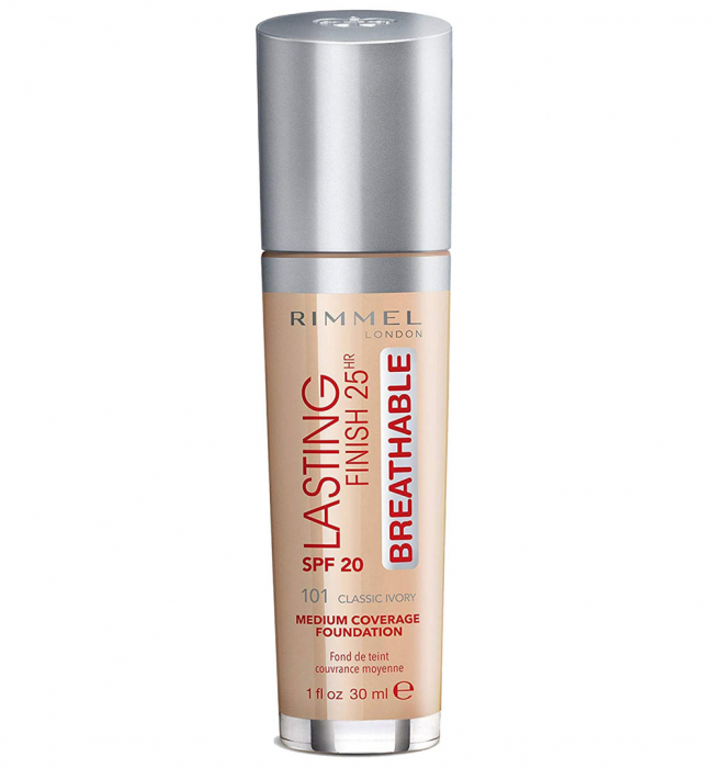Fond de Ten Rimmel London Lasting Finish 25Hr Breathable, SPF20, 101 Classic Ivory, 30 ml-big