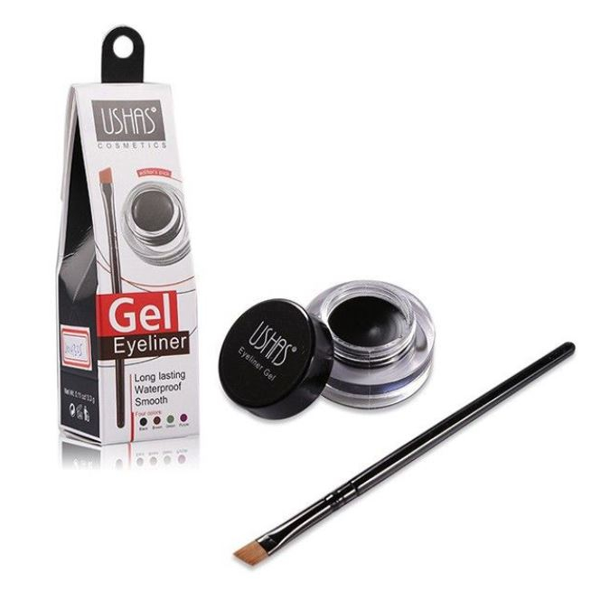 Gel Contur de Ochi cu Pensula Ultra-Rezistent Ushas Gel Eyeliner, Negru-big
