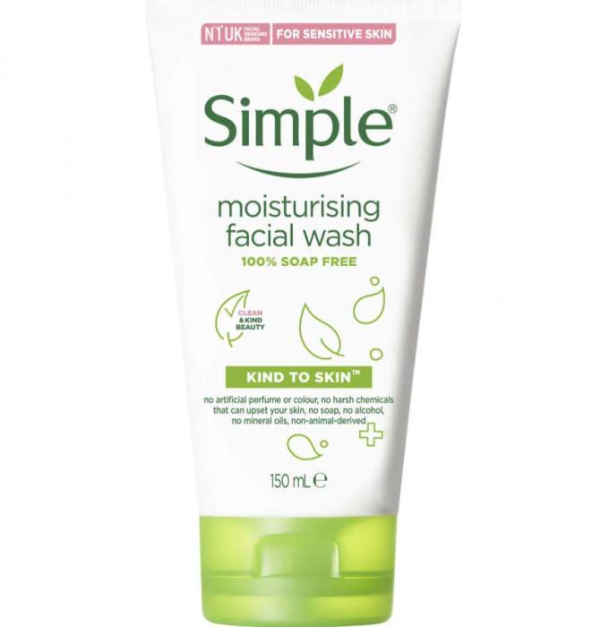 Crema de curatare faciala cu Bisabolol, Pro-Vitamina B5 si Vitamina E, Simple Moisturising Facial Wash, ten sensibil, 150 ml-big