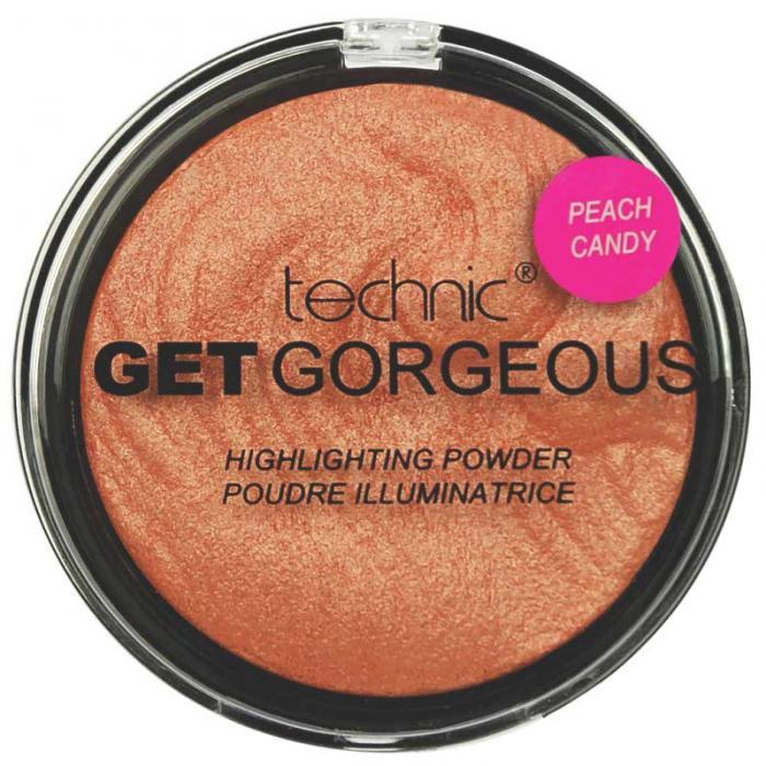 Iluminator cu particule irizante Technic Get Gorgeous Highlighting Powder - Peach Candy, 12g-big