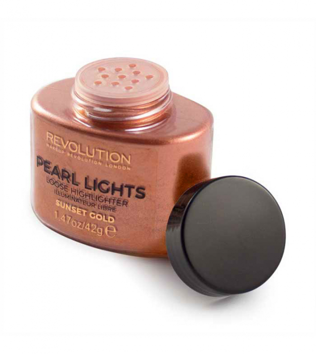 Iluminator Pulbere MAKEUP REVOLUTION Pearl Lights Loose Highlighter - Sunset Gold, 25 g-big