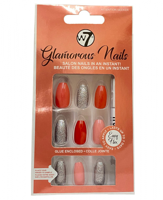 Kit 24 Unghii False W7 Glamorous Nails, Attention Seeker, cu adeziv inclus si pila de unghii-big