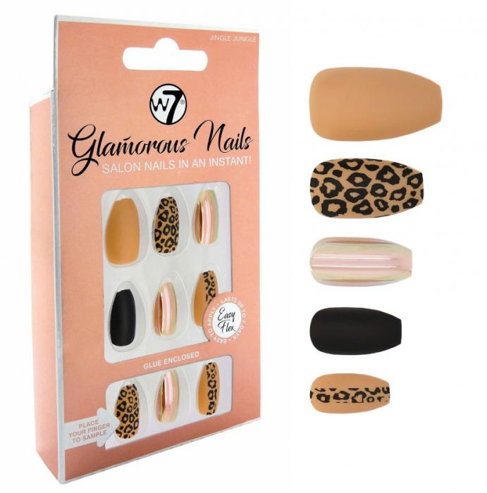 Kit 24 Unghii False W7 Glamorous Nails, Jungle Jingle, cu adeziv inclus si pila de unghii-big