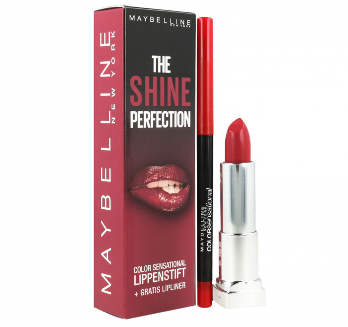 Kit Buze Maybelline The Shine Perfection Color Sensational: Ruj 540 Hollywood Red si Creion de Buze 80 Ruler-big