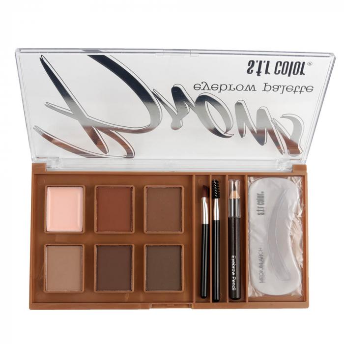 Kit Complet pentru Sprancene S.F.R Color Eyebrow Palette cu Ceara Fixare, Fard, Creion, Sabloane si Pensule Aplicare, B-big