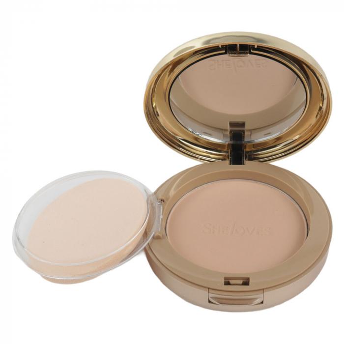 Kit cu 2 Pudre compacte, Rezistente la Transfer, efect mat, She Loves Best Face Powder, 03-big