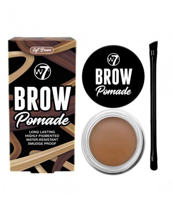 Kit cu Gel pentru Sprancene si Pensula dubla, W7 Brow Pomade, Soft Brown, 4.25 g-big