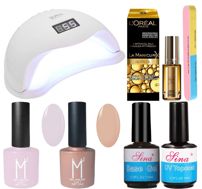 Kit Unghii cu Lampa Profesionala UV LED SUN5 si 6 Produse Premium pentru Manichiura Semipermanenta, Nude Pastels-big