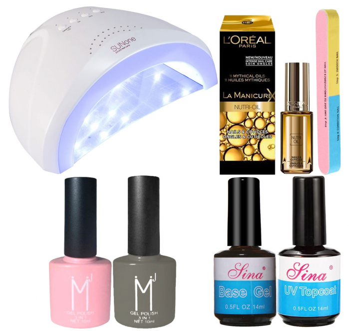 Kit Unghii cu Lampa Profesionala UV LED SUNone 48 W si 6 Produse Premium pentru Manichiura Semipermanenta, Pinky Grey-big