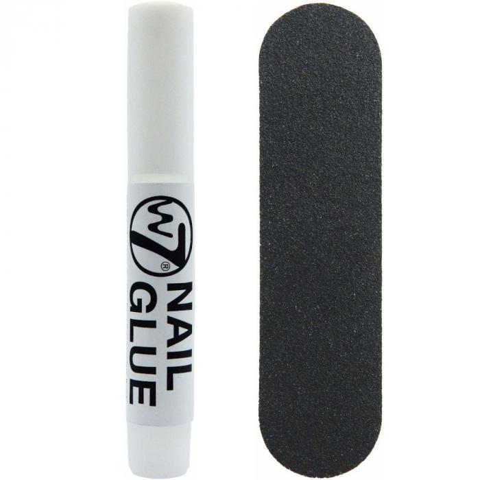 Kit 24 Unghii False W7 Glamorous Nails, Garnet, cu adeziv inclus si pila de unghii-big