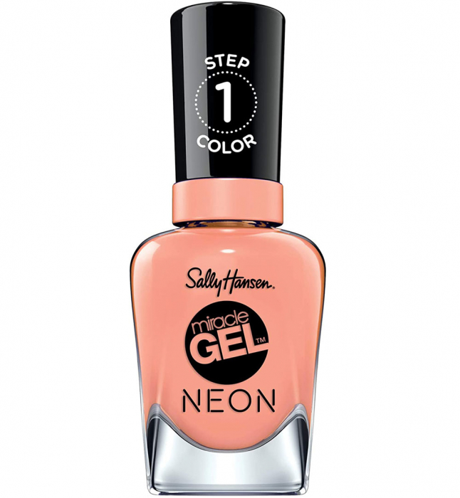 Lac de unghii Sally Hansen Miracle Gel NEON, gel de unghii fara utilizarea UV sau lampa LED, 051 Peach Please, 14.7 ml-big