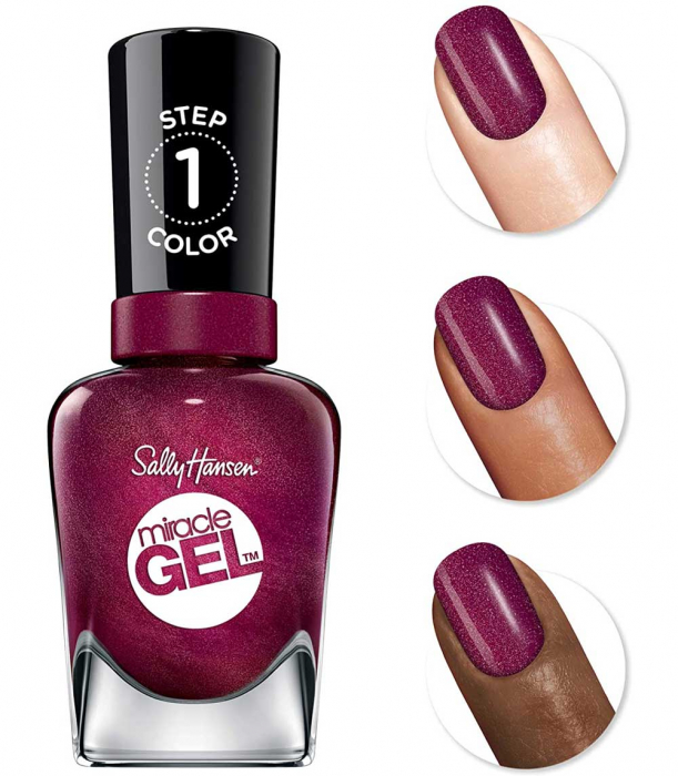 Lac de unghii Sally Hansen Miracle Gel, gel de unghii fara utilizarea UV sau lampa LED, 482 Walk the Wine, 14.7 ml-big