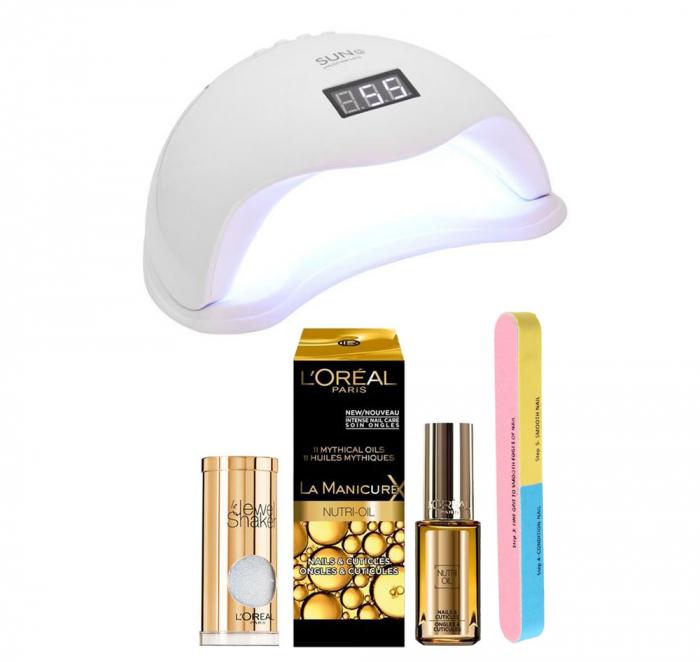 Set Lampa profesionala unghii UV LED SUN5, 48 W cu 2 Produse L'Oreal Paris: Dispozitiv Glamour, Tratament cuticule si  Pila 7 fete-big