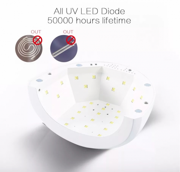 Lampa unghii UV LED SUNone 48 W, Hybrid, Double Light Led pentru uscat oja semipermanenta sau gel UV-big