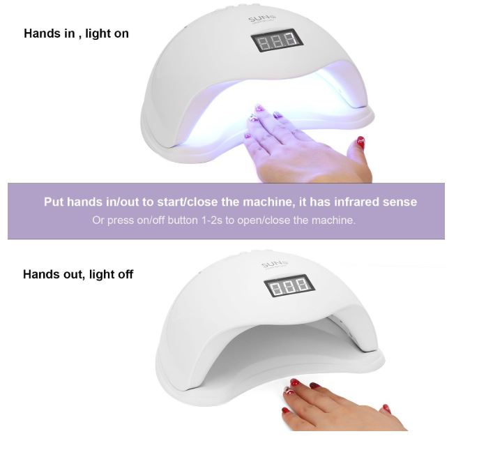 Lampa profesionala unghii UV LED SUN5, Activare prin senzori, 48 W,Uscare 10s-99s, pentru uscat oja semipermanenta sau gel UV-big