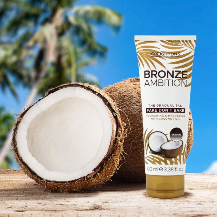 Crema Autobronzanta Pentru Bronzare Graduala CREIGHTONS Bronze Ambition Fake Don't Bake cu Ulei de Cocos, 100 ml-big