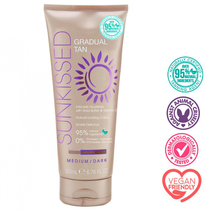 Lotiune Autobronzanta Profesionala SUNKISSED Gradual Tan, 95% Ingrediente Naturale, Medium/Dark, 200 ml-big