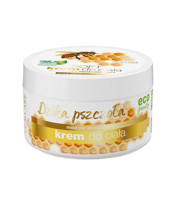 Crema regeneratoare pentru corp, Albina Salbatica, 98% Ingrediente Naturale, VOLLARE cu miere si ulei de floarea soarelui, 225 ml-big