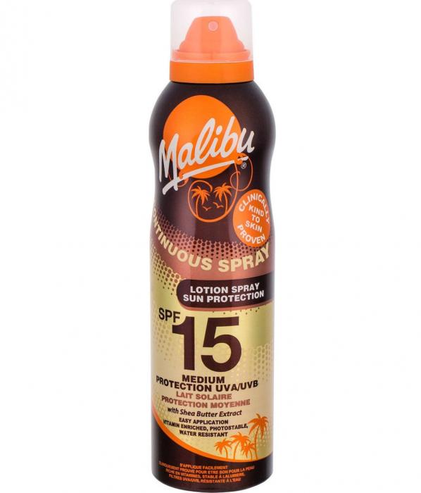 Lotiune Spray Malibu Continuous Spray, Rezistenta La Apa, Uva Uvb, Spf15, 175 Ml